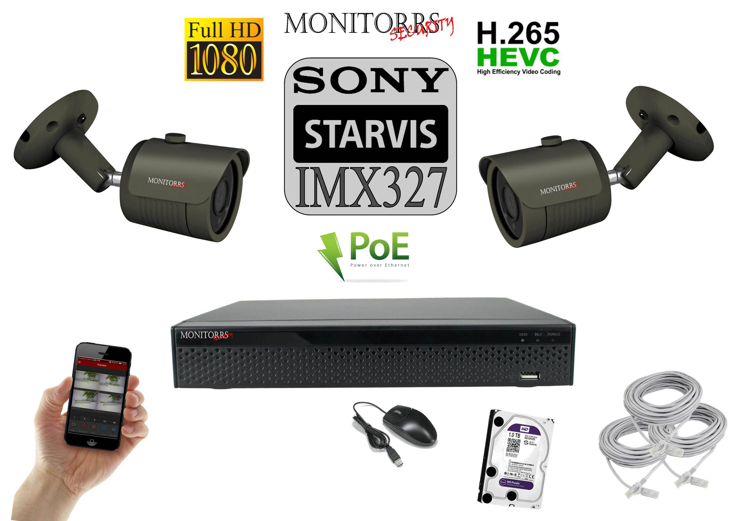 Monitorrs Security STARVIS IP 2 kamerový set 2 M.Pix. (6172K2)