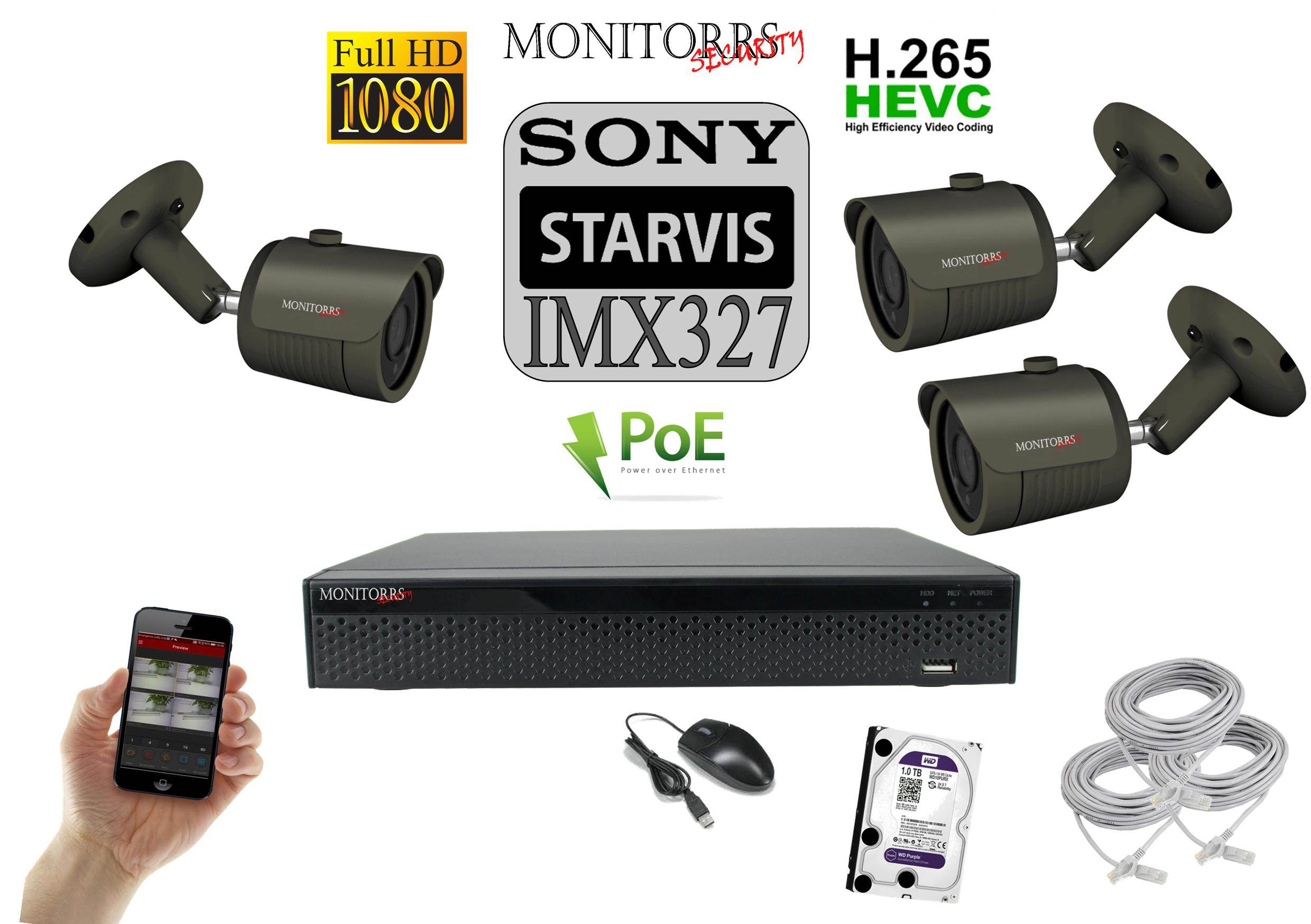 Monitorrs Security STARVIS IP 3 kamerový set 2 M.Pix. (6172K3)