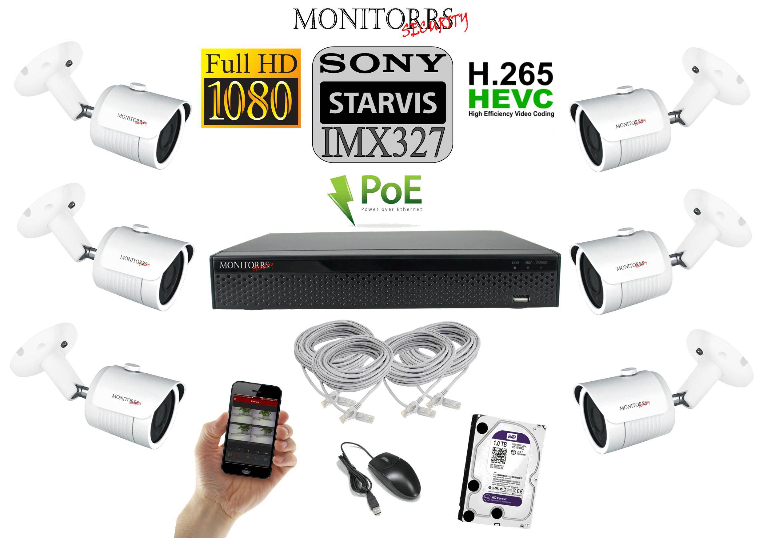 Monitorrs Security STARVIS IP kamerový set 2 M.Pix. (60356)