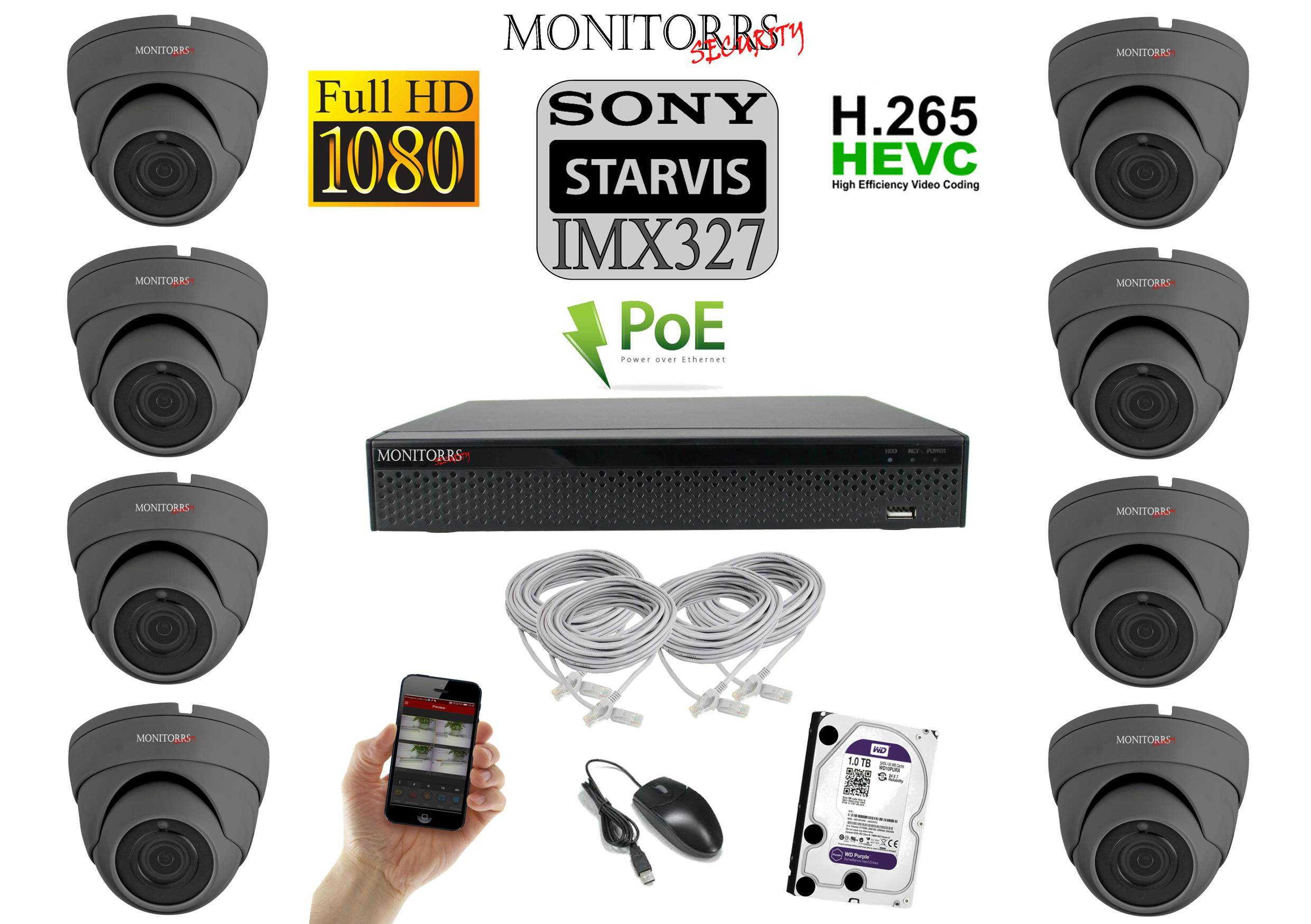 Monitorrs Security STARVIS IP kamerový set 2 M.Pix. DOME (6171K8)