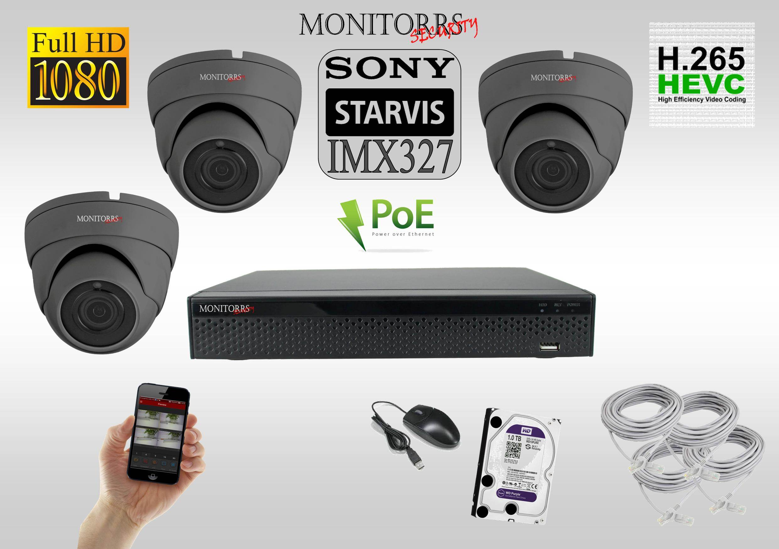 Monitorrs Security STARVIS IP kamerový set 2 M.Pix. DOME (62673T)