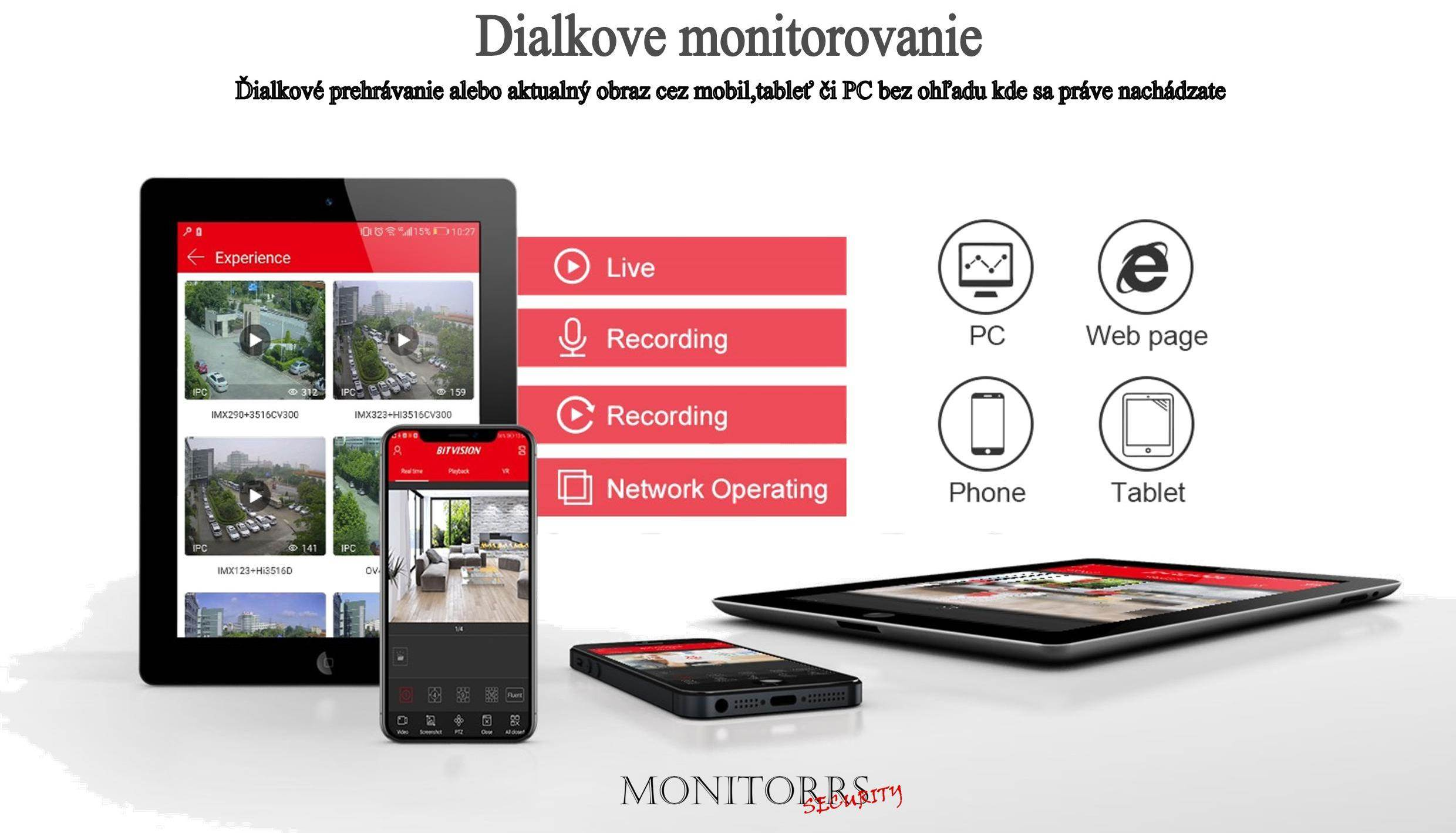 Monitorrs Security AHD kamerový set 4 kanálový 2 M.Pix Tube (6101K4)