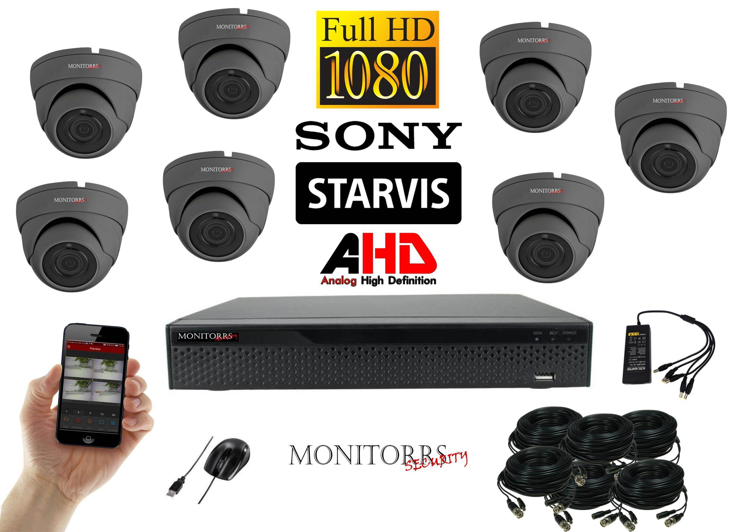 Monitorrs Security Starvis AHD 7 kamerový set 2,1 M.Pix. GDome (6256K7)