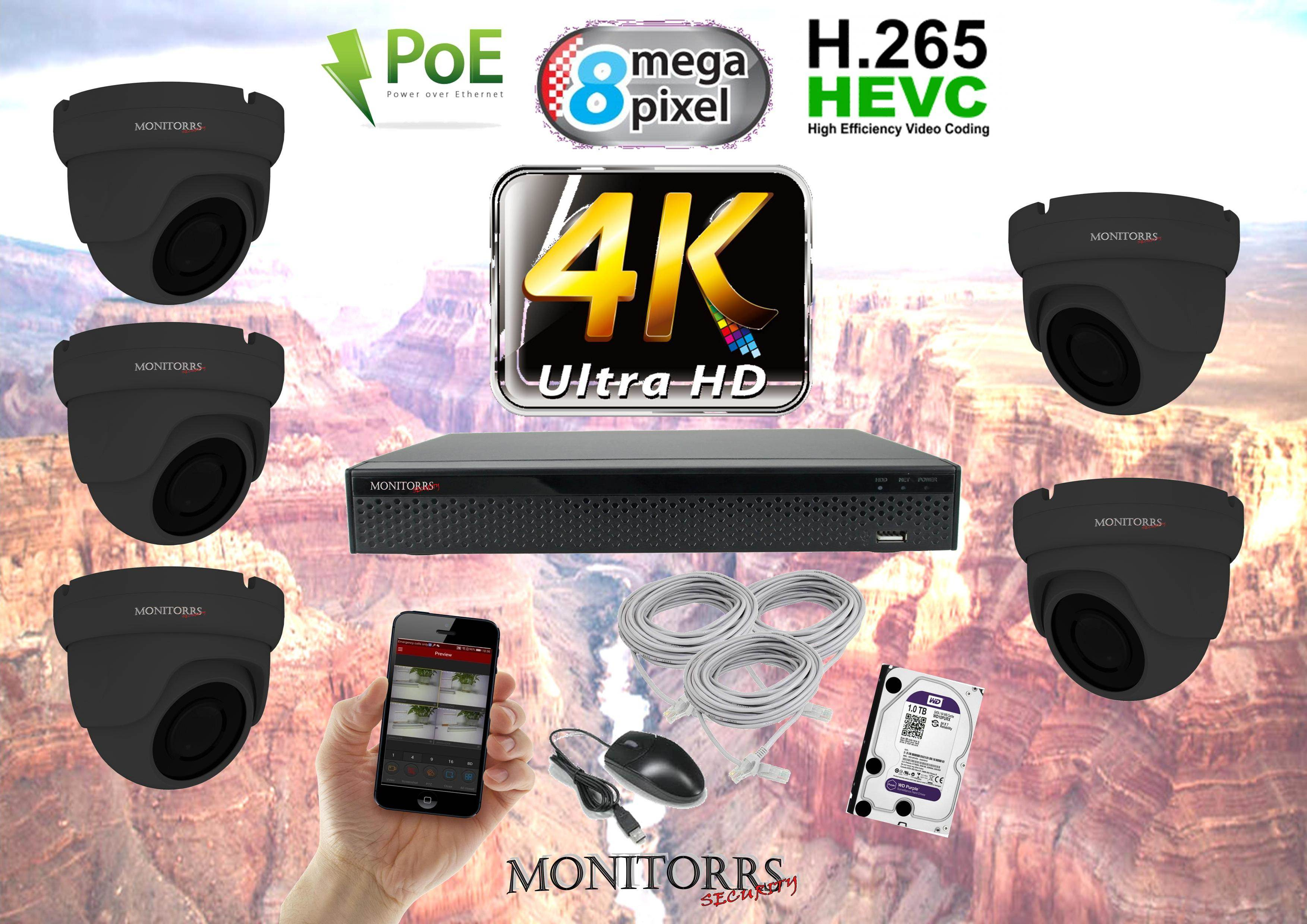 Monitorrs Security 4K IP 5 kamerový set 8 Mpix GDome (6195K5)