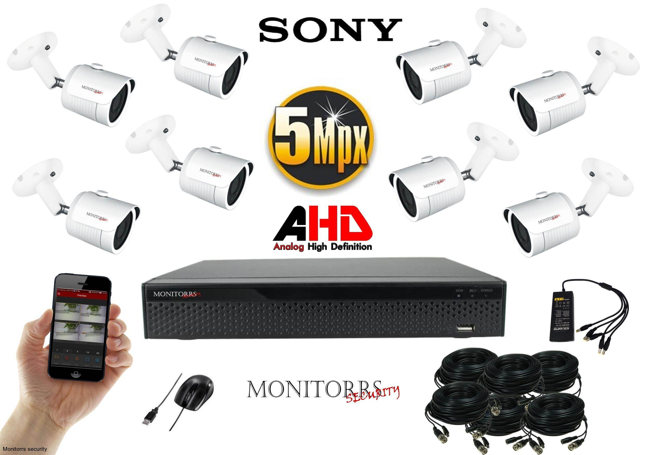 Monitorrs Security  AHD 8 kamerový set 5 MPix WTube (6510K8)