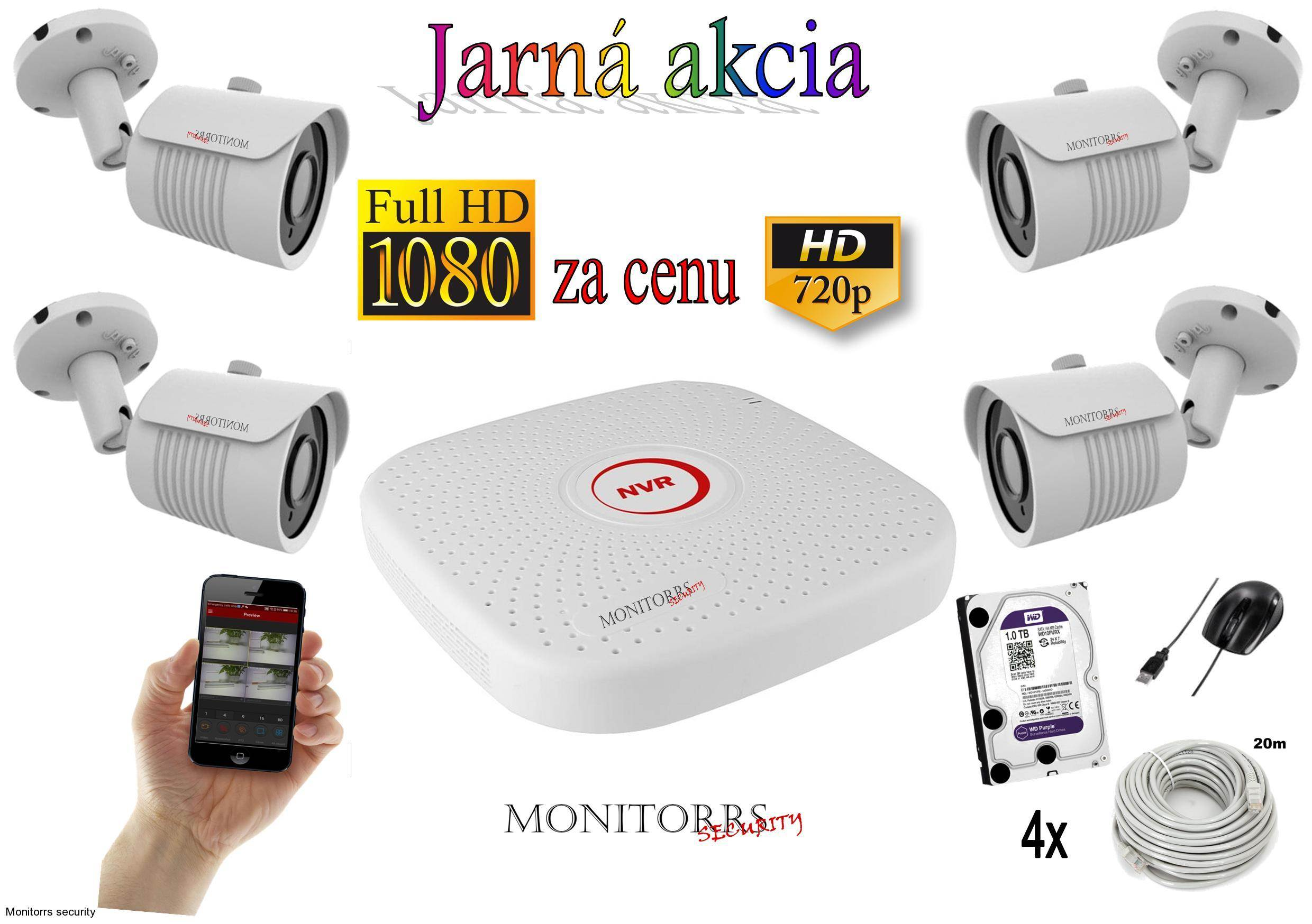 Monitorrs Security IP kamerový set S2,4 M.Pix