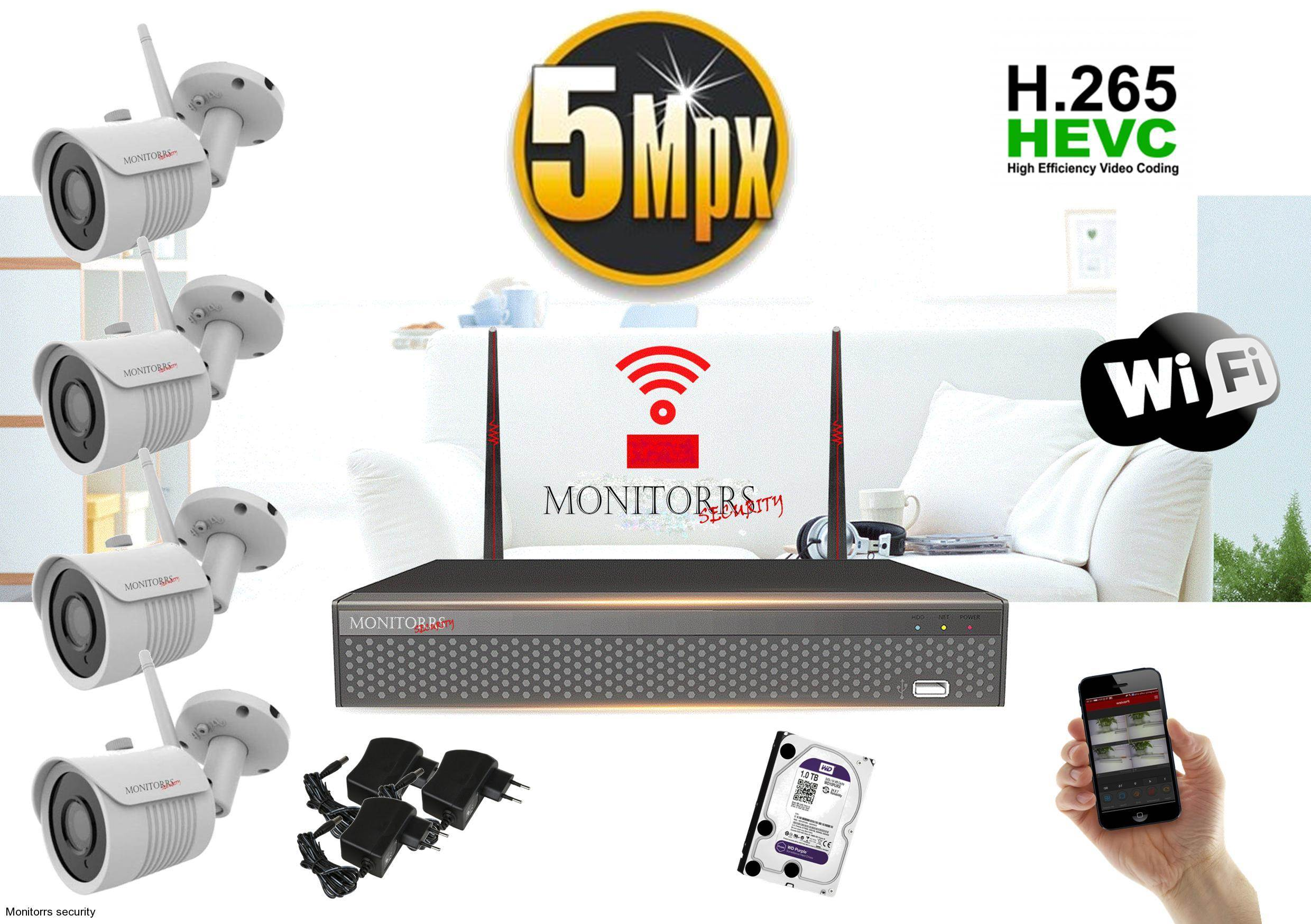 Monitorrs Security Wifi IP kamerový set 5MPix 1TB HDD (6005)