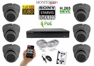 Monitorrs Security STARVIS IP kamerový set 2 M.Pix. DOME (6171K6)