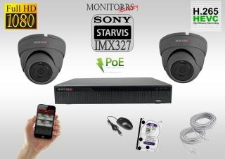 Monitorrs Security STARVIS IP kamerový set 2 M.Pix. DOME (6171K2)