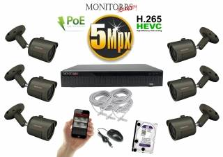Monitorrs Security IP kamerový set 5 MPix. 1TB HDD  (6174K6)