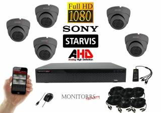 Monitorrs Security AHD Dome kamerový set 5 kanálový 2,1 M.Pix. Starvis (6256K5)