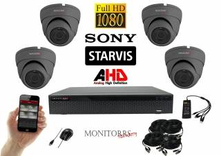 Monitorrs Security Starvis AHD 4 kamerový set 2,1 M.Pix. GDome (6256K4)