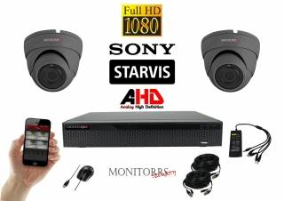Monitorrs Security AHD Dome kamerový set 2 kanálový 2,1 M.Pix. Starvis (6256K2)