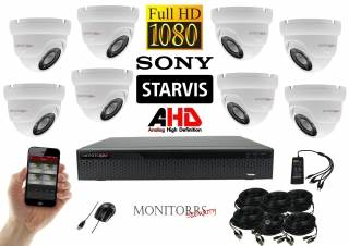 Monitorrs Security Starvis AHD 8 kamerový set 2,1 M.Pix. WDome (6166K8)