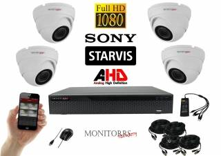 Monitorrs Security Starvis AHD 4 kamerový set 2,1 M.Pix. WDome (6166K4)