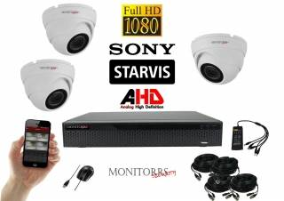 Monitorrs Security AHD Dome kamerový set 3 kanálový 2,1 M.Pix. Starvis (6166K3)
