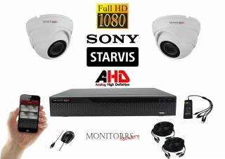 Monitorrs Security AHD Dome kamerový set 2 kanálový 2,1 M.Pix. Starvis (6166K2)