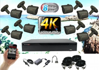 Monitorrs Security 4K AHD 8 kamerový set 8 Mpix GTube (6168K8)