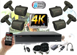 Monitorrs Security 4K AHD 4 kamerový set 8 Mpix GTube (6168K4)