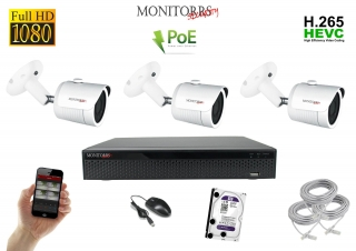 Monitorrs Security IP kamerový set 3 kanálový  2 M.Pix  PoE (6002K3)