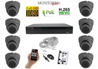 Monitorrs Security IP Dome kamerový set 8 kanálový  2 M.Pix  PoE (6169K8)