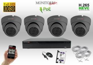 Monitorrs Security IP Dome kamerový set 4 kanálový  2 M.Pix  PoE (6169K4)