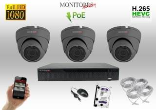 Monitorrs Security IP Dome kamerový set 3 kanálový  2 M.Pix  PoE (6169K3)