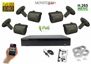 Monitorrs Security IP kamerový set 4 kanálový  2 M.Pix  PoE (6170K4)