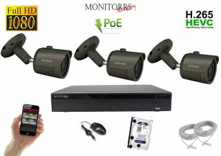 Monitorrs Security IP kamerový set 3 kanálový  2 M.Pix  PoE (6170K3)