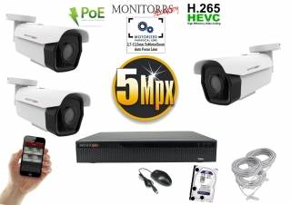 Monitorrs Security park IP kamerový set 5 MPix. 1TB HDD  (6185K3)