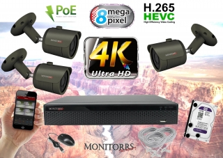 Monitorrs Security 4K IP Kamerový systém 3 kam. GT (6193K3)