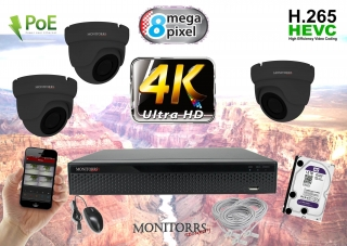 Monitorrs Security 4K IP Kamerový systém 3 kam. GD (6195K3)