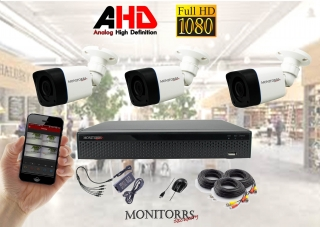 Monitorrs Security AHD 3 kamerový set 2 M.Pix Tube (6030K3)