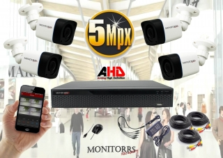 Monitorrs Security AHD 4 kamerový set 5 M.Pix Tube (6198K4))