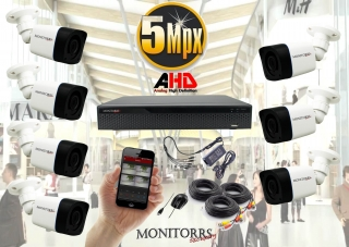 Monitorrs Security AHD 7 kamerový set 5 M.Pix Tube (6198K7)