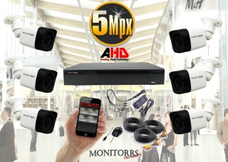 Monitorrs Security AHD 6 kamerový set 5 M.Pix Tube (6198K6)