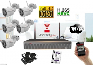 Monitorrs Security Wifi IP kamerový set Full HD 5 x kamera (6513K5)