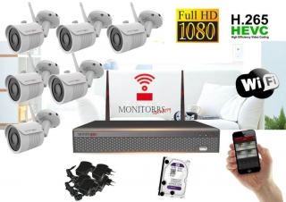 Monitorrs Security Wifi IP kamerový set Full HD 6 x kamera (6513K6)