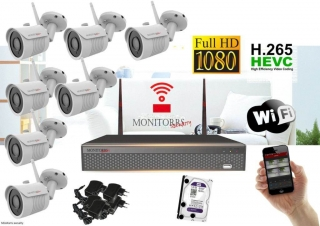 Monitorrs Security Wifi IP kamerový set Full HD 7 x kamera (6513K7)