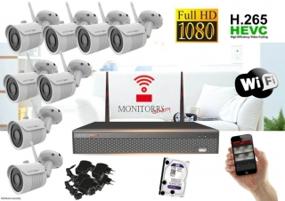 Monitorrs Security Wifi IP kamerový set Full HD 8 x kamera (6513K8)