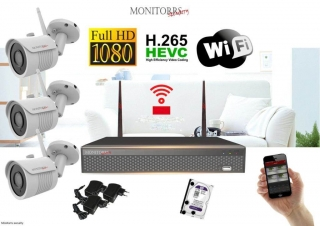 Monitorrs Security Wifi IP kamerový set Full HD 1080p 3 x kamera (6513K3)