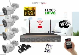 Monitorrs Security Wifi IP kamerový set FullHD 1080p 4 x kamera (6142)