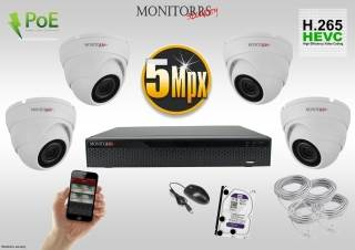 Monitorrs Security IP Dome kamerový set 5 MPix. 1TB HDD  (6292K4)