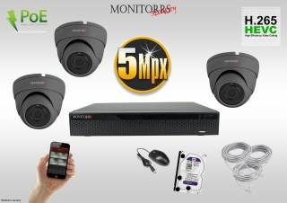 Monitorrs Security IP Dome kamerový set 5 MPix. 1TB HDD  (6173K3)