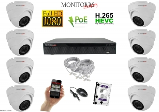 Monitorrs Security IP Dome kamerový set 8 kanálový  2 M.Pix  PoE (6001K8)