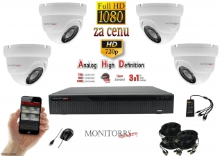 Monitorrs Security  AHD 4 kamerový set 2 M.Pix WDome (6103K4)