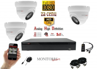 Monitorrs Security Dome AHD kamerový set 3 kanálový 2 M.Pix (6103K3)