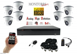 Monitorrs Security AHD 8 kamerový set 2 M.Pix WDome (6103K8)