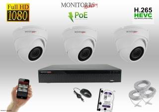 Monitorrs Security IP Dome kamerový set 3 kanálový  2 M.Pix  PoE (6001K3)
