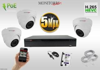 Monitorrs Security IP Dome kamerový set 5 MPix. 1TB HDD  (6292K3)